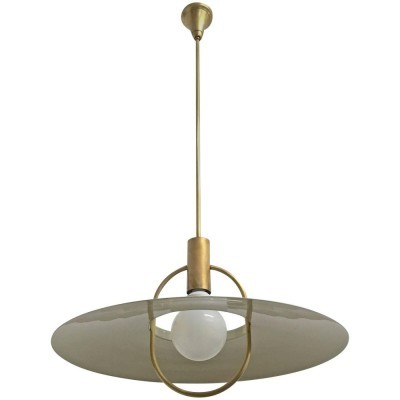 Saucer hanging lamp from the sixties by Bruno Chiarini for unknown producer