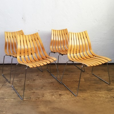 Set of 4 Scandia dining chairs by Hans Brattrud for Hove Möbler, 1960s