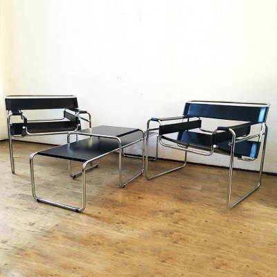 Pair of Wassily seating groups by Marcel Breuer for Fasem, 1980s