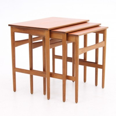 Set of 3 AT-40 nesting tables from the fifties by Hans Wegner for Andreas Tuck