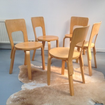 Set of 5 dining chairs by Alvar Aalto for Artek, 1980s