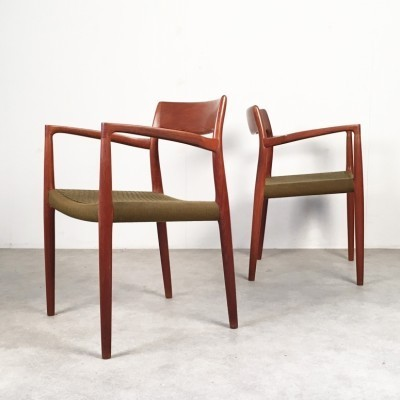 Set of 2 Model 57 arm chairs from the fifties by Niels Otto Møller for J L Møller