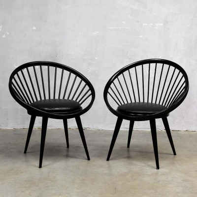 2 Circle lounge chairs from the sixties by Yngve Ekström for Swedese