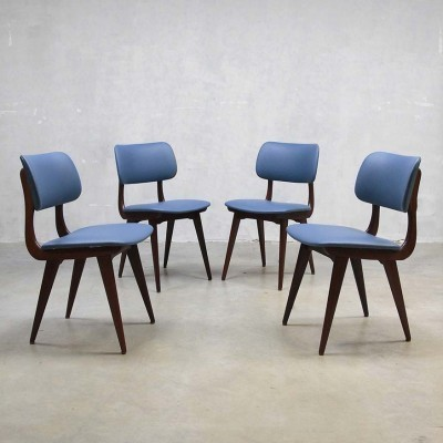 Set of 4 dinner chairs from the fifties by Louis van Teeffelen for Wébé
