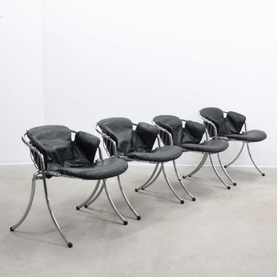 4 Lynn dinner chairs from the sixties by Gastone Rinaldi for Rima