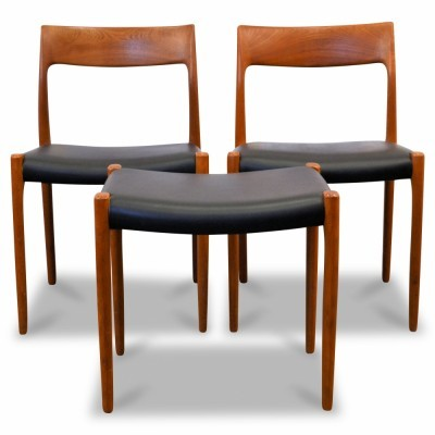 Set of 2 Model 77 dinner chairs from the sixties by Niels O. Møller for J L Møller