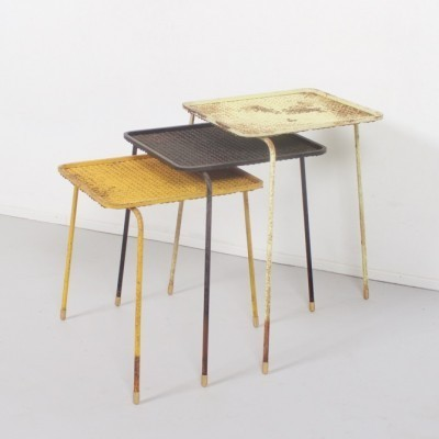 Set of 3 Soumba nesting tables by Mathieu Matégot, 1950s