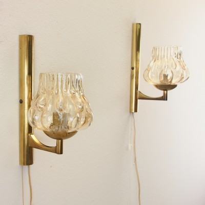 2 x wall lamp by Carl Fagerlund for Orrefors, 1950s