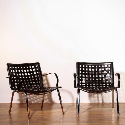 Pair of Net lounge chairs by Giancarlo Vegni for Fasem, 1970s