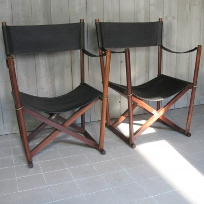 Pair of Folding arm chairs by Mogens Koch for InTerna, 1930s