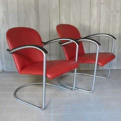 Pair of lounge chairs by W. Gispen for Gispen, 1930s