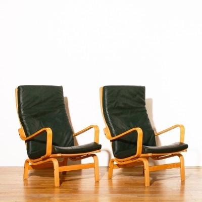 Set of 2 lounge chairs from the eighties by Yngve Ekström for Swedese