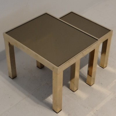 Gilded nesting table from the seventies by unknown designer for Belgo Chrom