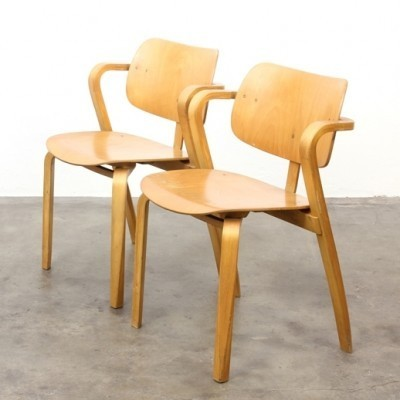Pair of Aslack arm chairs by Ilmari Tapiovaraa for Asko, 1950s