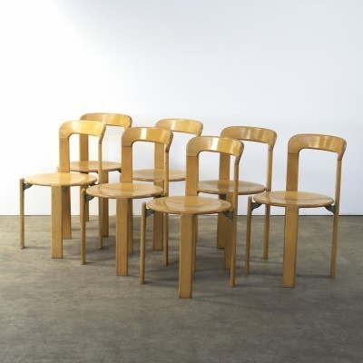 Set of 7 dining chairs by Bruno Rey for Dietiker Swiss, 1970s