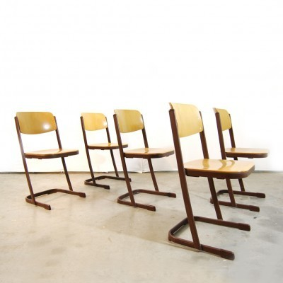 5 dinner chairs from the eighties by unknown designer for unknown producer