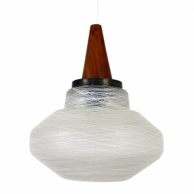 Scandinavian glass pendant from the sixties with wooden cap
