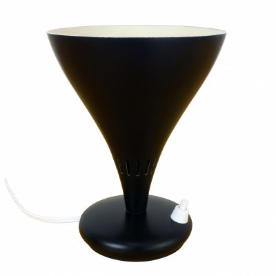 Minimalistic table lamp from the fifties made of black metal