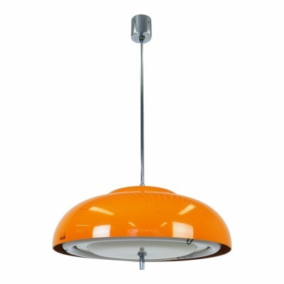 Space age orange pendant from the seventies with round fluorescent light bulb