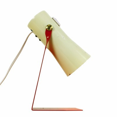 Quality desk light from the sixties made of cream & red metal