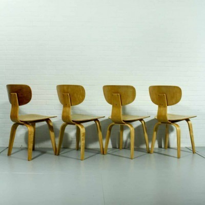 Set of 4 SB02 dinner chairs from the fifties by Cees Braakman for Pastoe
