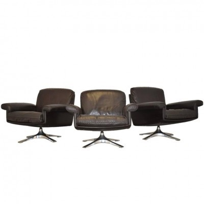 Set of 3 DS 31 arm chairs by De Sede Design Team for De Sede, 1960s