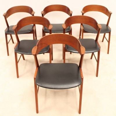 Set of 6 dinner chairs from the fifties by Kai Kristiansen for Korup Stolefabrik
