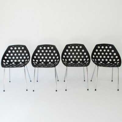 Set of 4 Coquillage dining chairs by Pierre Guariche for Meurop, 1960s