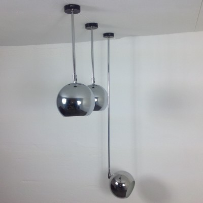 Set of 3 Erco ceiling lamps, 1960s
