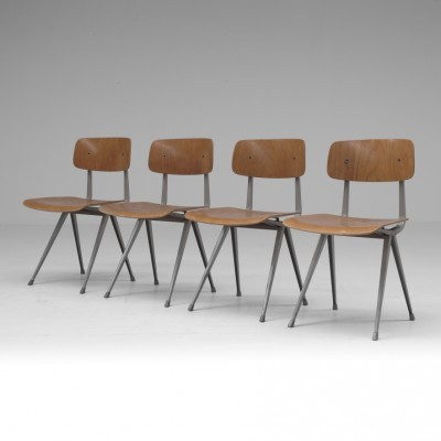 Set of 4 Result dinner chairs by Friso Kramer for Ahrend de Cirkel, 1950s