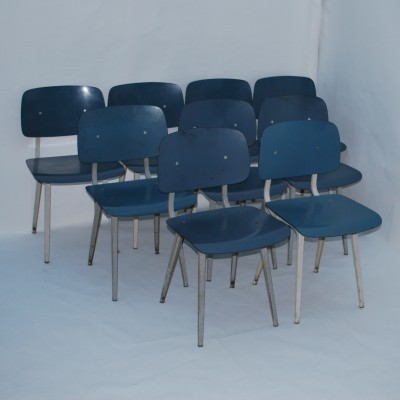 Set of 9 Revolt dinner chairs from the fifties by Friso Kramer for Ahrend de Cirkel