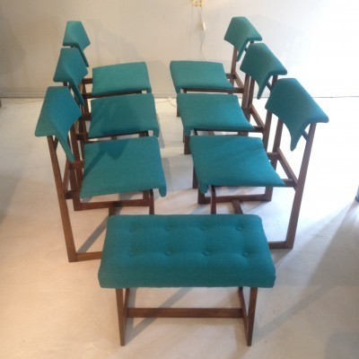 Set of 7 dinner chairs from the fifties by unknown designer for unknown producer