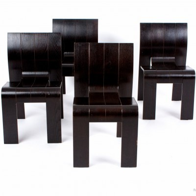 Set of 4 Strip dinner chairs from the seventies by Gijs Bakker for Castelijn