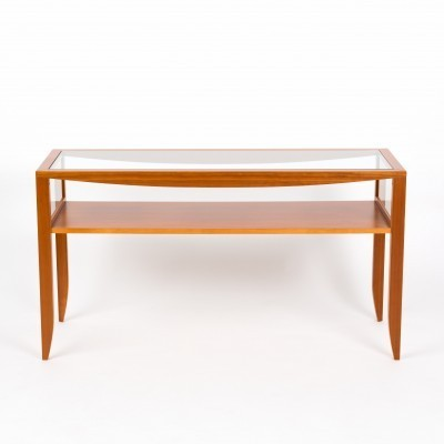 Catalan cherrywood side table with glass