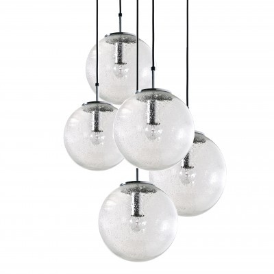 Set of 5 Bubble Globe Chandeliers hanging lamps from the sixties by unknown designer for Limburg Glashutte