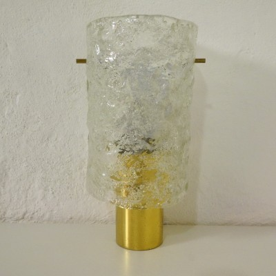 German iceglass wall lamp with brass, 1960s