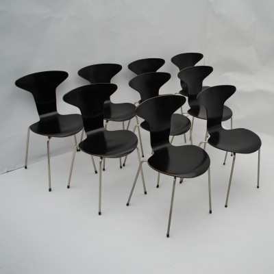 Set of 9 3105 Mosquito dinner chairs from the fifties by Arne Jacobsen for Fritz Hansen