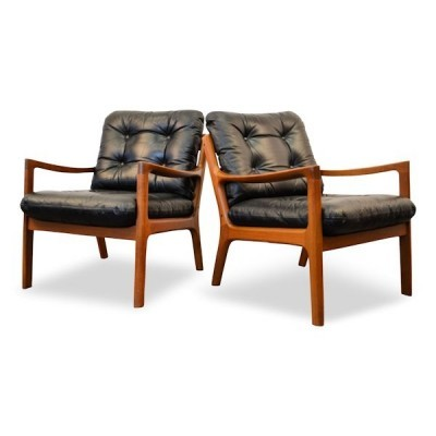 Set of 2 lounge chairs from the sixties by Ole Wanscher for France & Son