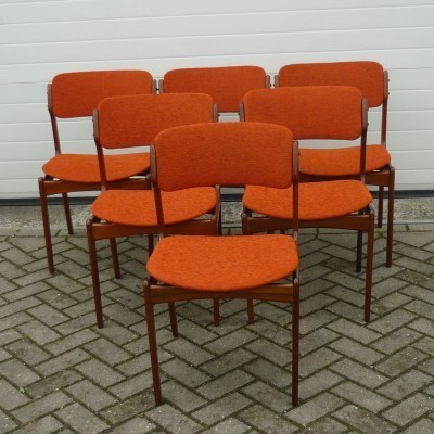 Set of 6 dining chairs by Erik Buck for O. D. Møbler, 1960s