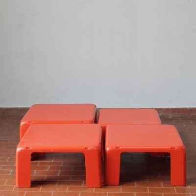 Set of 4 Gatti nesting tables by Mario Bellini for C & B Italia, 1960s