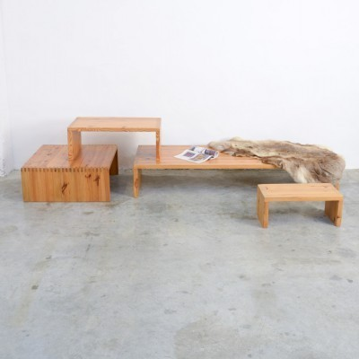Set of 4 benches from the sixties by Ate van Apeldoorn for Houtwerk Hattem