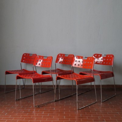 Set of 5 Omkstak dining chairs by Rodney Kinsman for Bieffeplast, 1970s