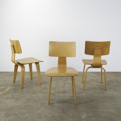 Set of 3 SB03 dinner chairs from the fifties by Cees Braakman for Pastoe