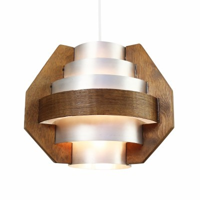 Multilayer pendant from the sixties made of aluminium & wood