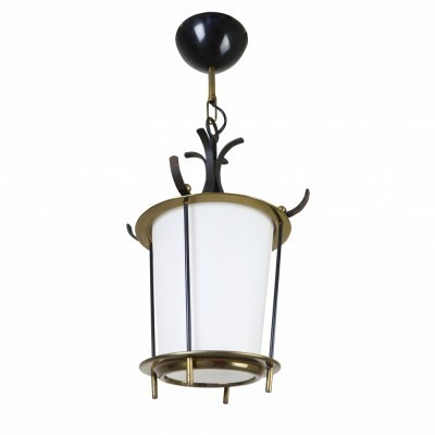 Sophisticated messing & milk glass pendant hanging lamp from the sixties