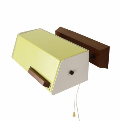Yellow & white bedside wall light with rotatable shade