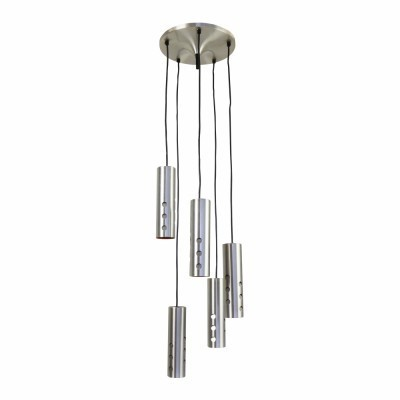 Chandelier pendant with 5 cascading cylinder lights from the sixties