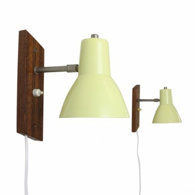 Set of two pastel yellow wall lights from the fifties