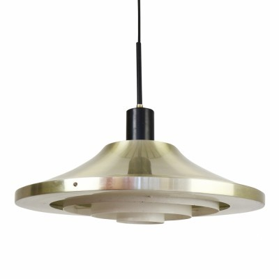 Modern aluminium pendant from the sixties including metal diffuser