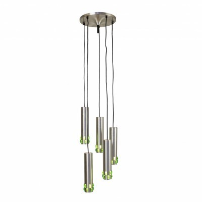 Spiral cascading chandelier from the sixties with green glass details